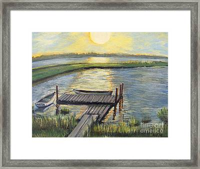 Framed Print featuring the painting Sunset On The Bay by Rita Brown