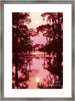Framed Print featuring the photograph Sunset On The Bayou Atchafalaya Basin Louisiana by Dave Welling