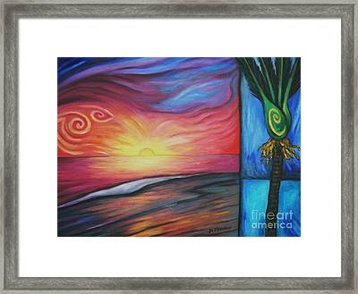 Sunset On The Beach And Nikau Palm Framed Print
