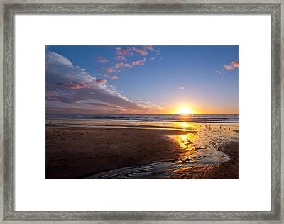 Sunset On The Beach At Carlsbad. Framed Print by Melinda Fawver