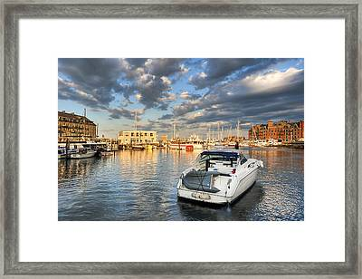 Sunset On The Boston Waterfront Framed Print by Mark E Tisdale