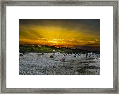 Sunset On The Crowded Beach Framed Print by Adam Budziarek