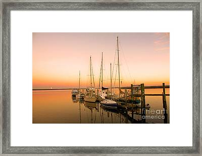 Sunset On The Dock Framed Print by Southern Photo