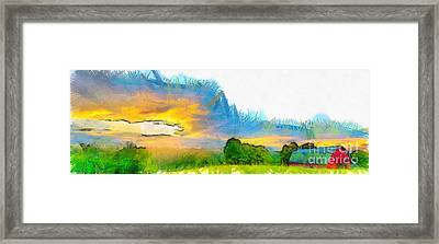Sunset On The Farm Pencil Framed Print by Edward Fielding