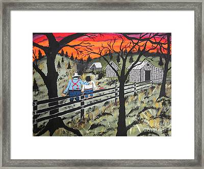 Sunset On The Fence Framed Print by Jeffrey Koss