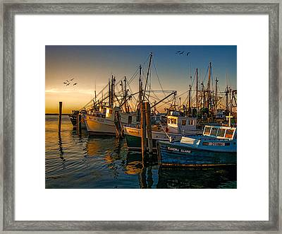 Sunset On The Fleet Framed Print