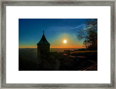 Sunset On The Fortress Koenigstein Framed Print