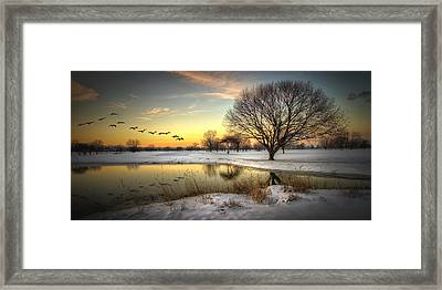 Sunset On The Golf Course Framed Print by Laura James