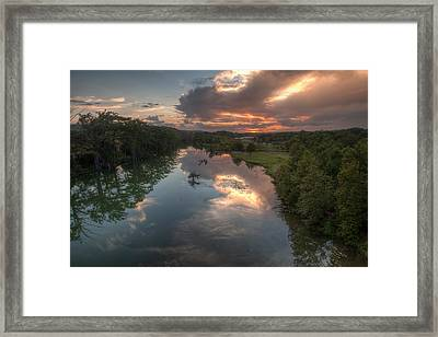 Sunset On The Guadalupe River Framed Print by Paul Huchton