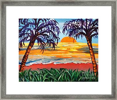 Framed Print featuring the painting Sunset On The Gulf by Ecinja Art Works