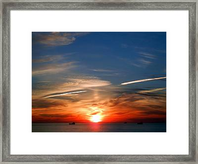 Sunset On The Gulf Of Mexico Framed Print by Debra Martz