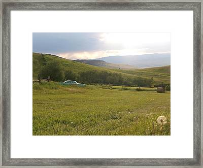 Sunset On The Hay Field Framed Print by Jenessa Rahn