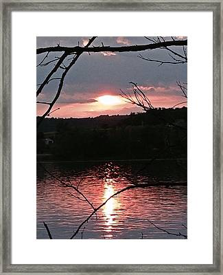 Sunset On The Hudson Framed Print