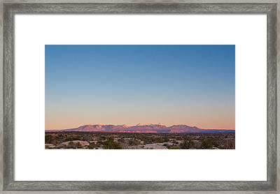 Sunset On The La Sal Mountains Framed Print