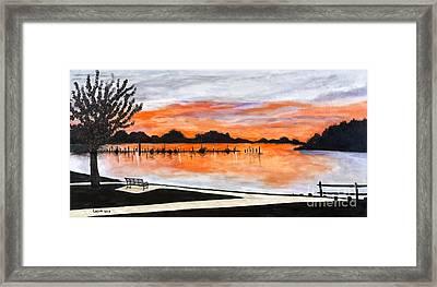 Sunset On The Lake By Lucia Van Hemert Framed Print by Sheldon Kralstein