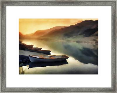 Sunset On The Lake Framed Print by David Ridley