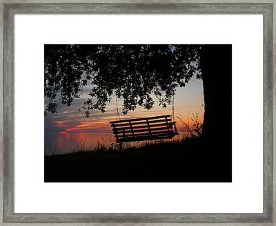 Sunset On The Lake Framed Print by Heather Allen