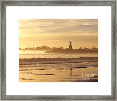 Sunset On The Lighthouse In Santa Cruz Harbor Framed Print