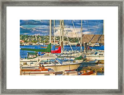 Sunset On The Marina Framed Print