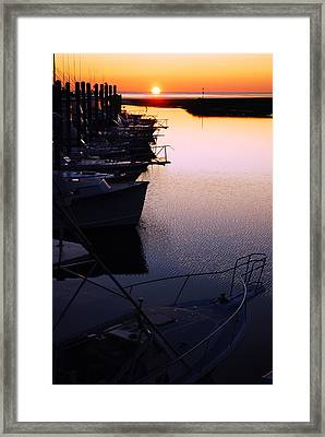 Framed Print featuring the photograph Sunset On The Marina by James Kirkikis