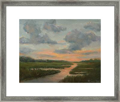 Sunset On The Marshes Framed Print by Sarah Parks