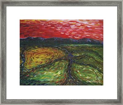 Sunset On The Narrows Framed Print by Cynthia Lagoudakis