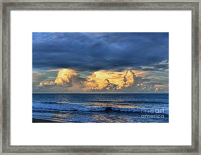 Sunset On The Ocean Framed Print by Olga Hamilton