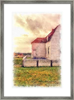 Sunset On The Old Farm House Framed Print by Edward Fielding