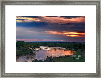 Sunset On The Payette  River Framed Print by Robert Bales