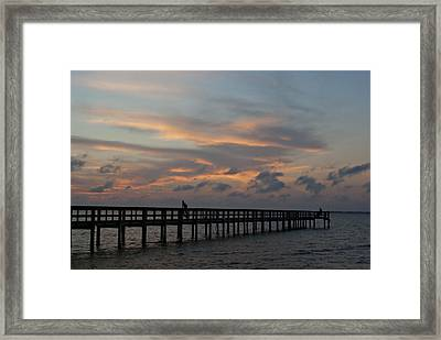Framed Print featuring the photograph Sunset On The Pier by Judy  Johnson