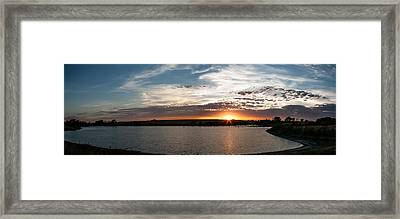 Sunset On The Pond Framed Print by Dawn Romine