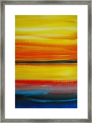 Framed Print featuring the painting Sunset On The Puget Sound by Jani Freimann