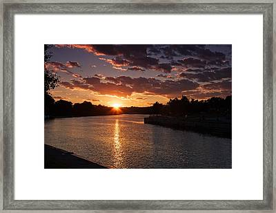 Framed Print featuring the photograph Sunset On The River by Dave Files