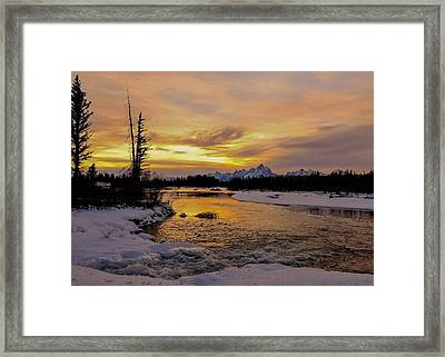 Framed Print featuring the photograph Sunset On The River by Yeates Photography
