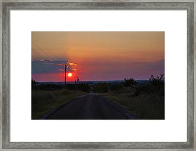 Sunset On The Road Heading West Framed Print