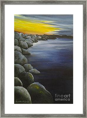 Sunset On The Rocks  Framed Print by Roni Ruth Palmer