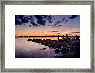 Sunset On The Rocks - Stonington Point Framed Print