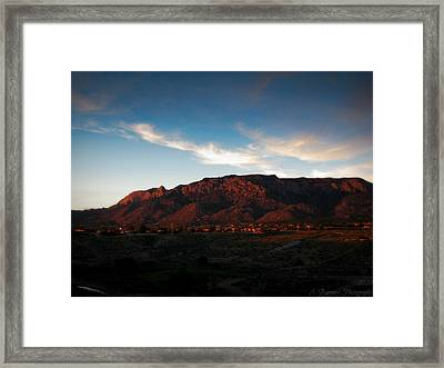 Sunset On The Sandias Framed Print