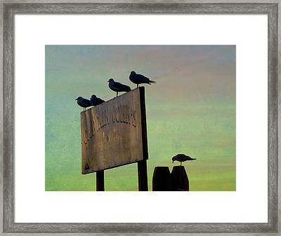 Sunset On The Sign Framed Print