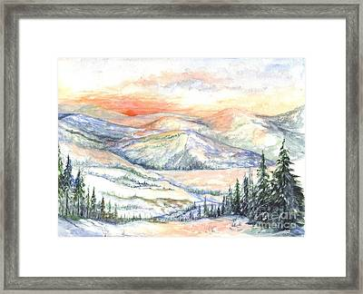 Sunset On The Slopes Framed Print by Carol Wisniewski