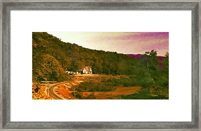 Sunset On The Tracks Framed Print by Spyder Webb