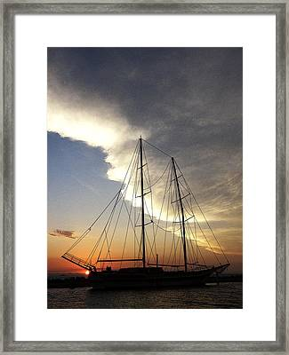 Sunset On The Turkish Gulet Framed Print