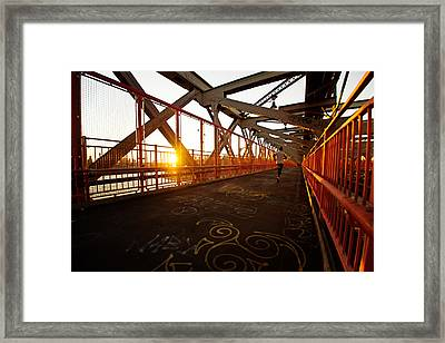 Sunset On The Williamsburg Bridge - New York City Framed Print
