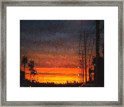 Framed Print featuring the painting Sunset On Ventura Boulevard by Ike Krieger