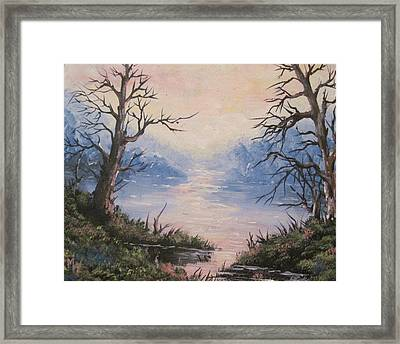 Framed Print featuring the painting Sunset On Water by Megan Walsh