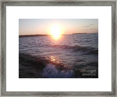 Sunset On Waves Framed Print