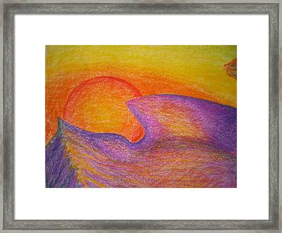 Sunset On Wavy Mountains Detail Of Sun Framed Print