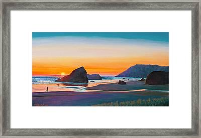 Sunset - Oregon Coast Framed Print by Paul Krapf