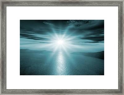 Sunset Over A Bay Framed Print by Detlev Van Ravenswaay