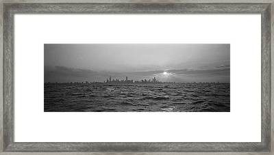 Sunset Over A City, Chicago, Illinois Framed Print by Panoramic Images